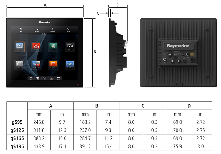 gS Series Unit Dimensions | Raymarine