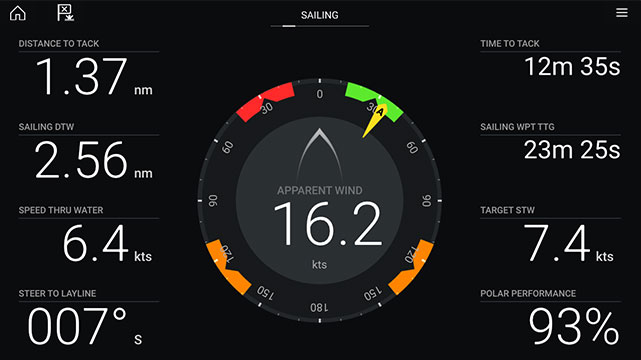 Annapolis 3.9 - Dashboard App and Sailing Dials | Raymarine - A Brand by FLIR